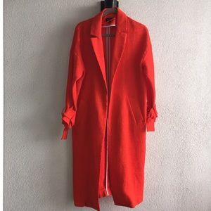 Red/Orange tie-sleeve Plisse Duster